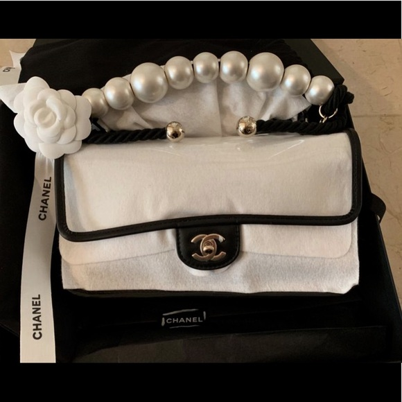8028141f2334b0 CHANEL Bags | New Pvc Sand Flap Bag With Pearls Handle | Poshmark